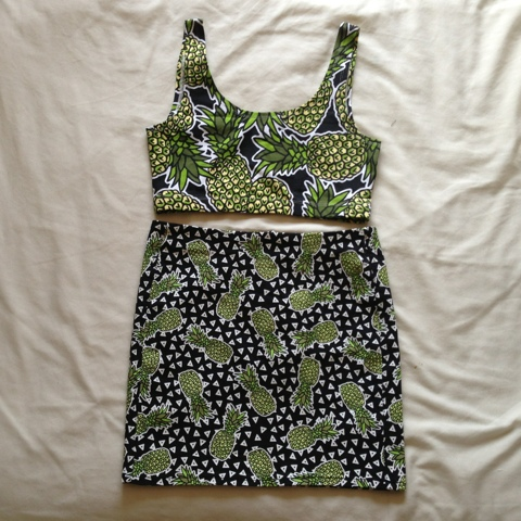H&M Pineapple Crop & Skirt