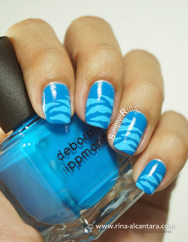 Blue Scratches Nail Art on Deborah Lippmann Video Killed the Radio Star