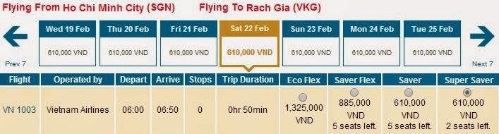 Vé Vietnam Airlines Hồ Chí Minh đi Rạch Sỏi, rạch giá