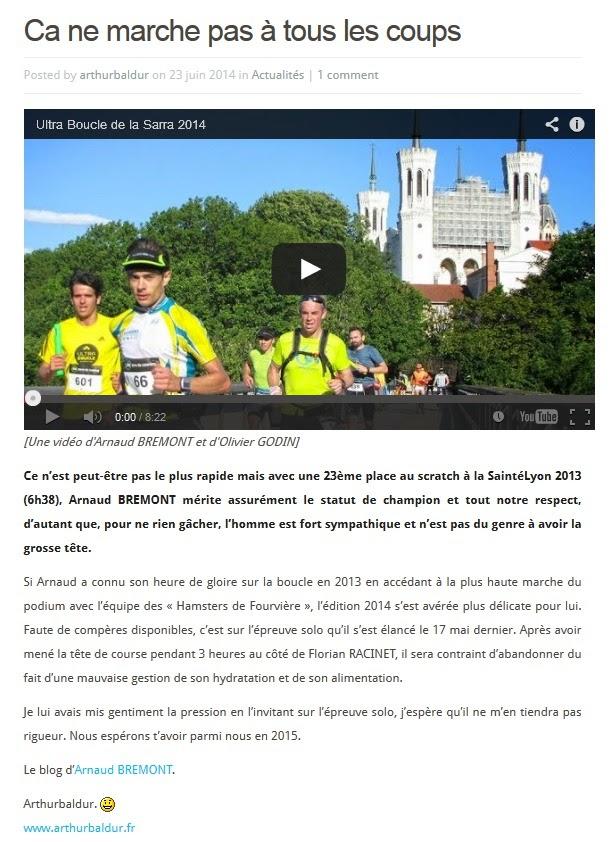 """Ultra Boucle de la Sarra 23/06/2014 """"ça ne marche pas à tous les coups"""""""