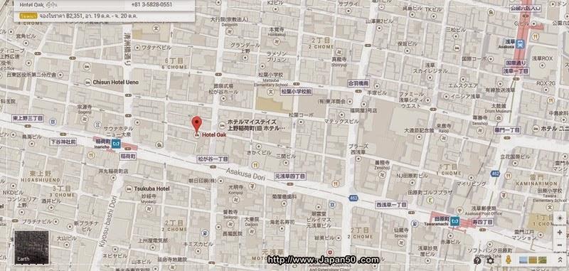 map-oak-hotel-inaricho-ueno-station-tokyo-japan