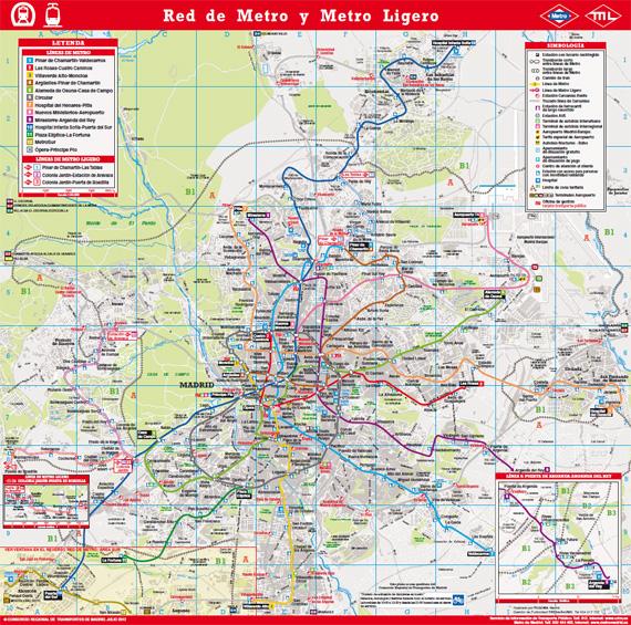 Plano del Metro de Madrid, edición julio 2012