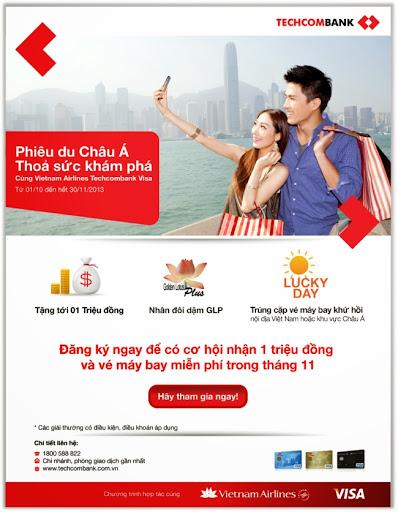 Cơ hội nhận đến 1 triệu đồng và cặp vé máy bay du lịch Châu Á từ Techcombank