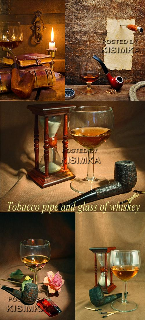 Stock Photo: Tobacco pipe and glass of whiskey