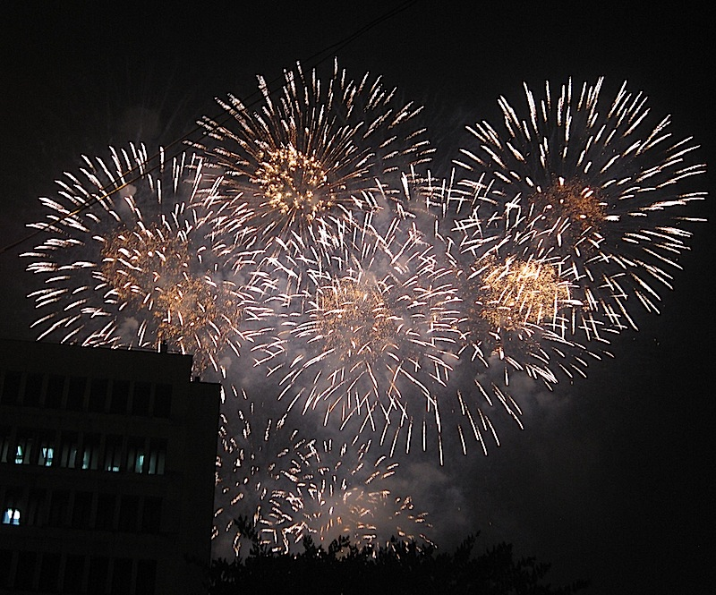fireworks in Makati City after the new year countdown