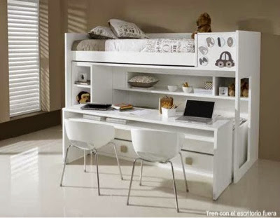 litera con escritorio incorporado blanca