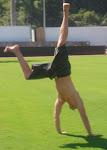 Tony does a cartwheel