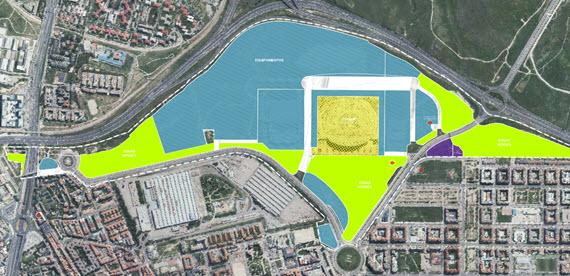 Nuevos usos para los terrenos junto al futuro estadio del Atlético de Madrid - pincha para ampliar el plano