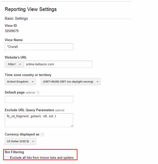 Google Analytics Bots Filter
