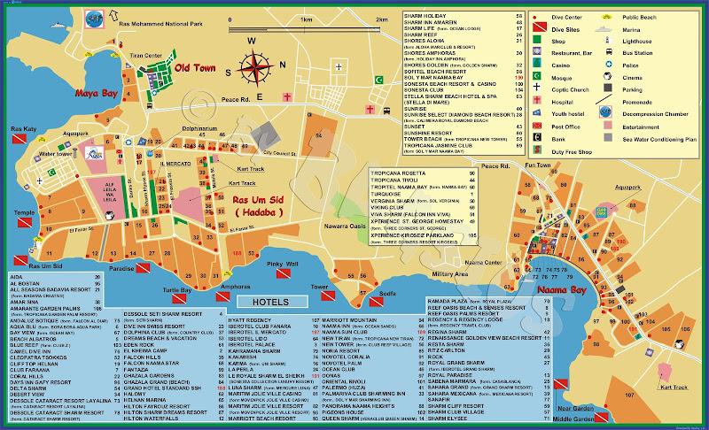 Карта отелей Шарм-эль-Шейха