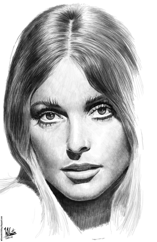 Pencil drawing of Sharon Tate, using Krita 2.7 Alpha.
