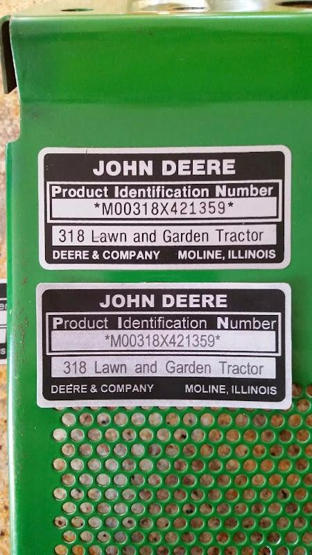 john deere serial number plate