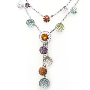 18k White Gold Multicolor Gemstone and Diamond Necklace