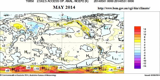 may 2014 850hpa anomaly global
