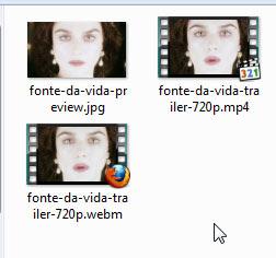 Três arquivos criados: dois vídeos e uma imagem estática