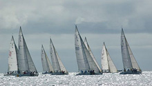 J/105 one-design sailboats- sailing upwind in San Diego