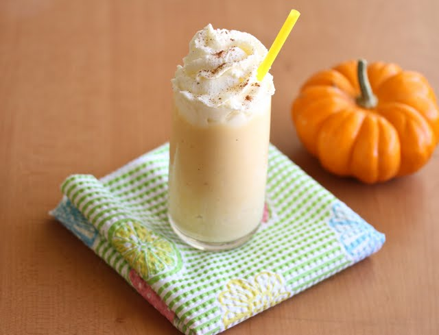 overhead photo of a glass of Pumpkin Milkshake