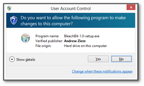 BleachBit 1.0 Windows 8 User Access Control verified publisher