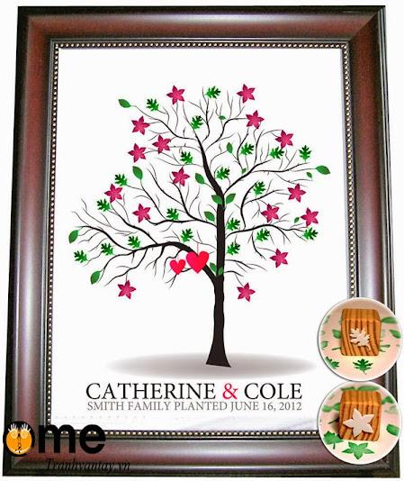 mực in vân tay wedding tree