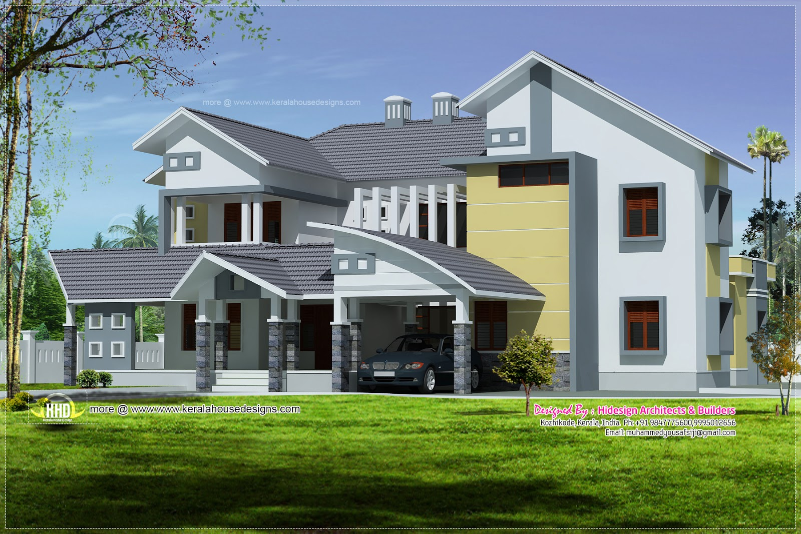 Modern mix luxury home exterior design kerala home design and floor plans - Kerala exterior model homes ...