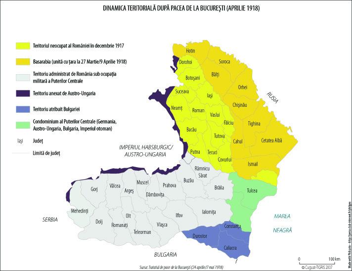 Harta României după pacea din aprilie 1918