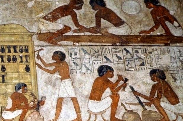 Trabalhadores egípcios em suas atividades funcionais. Imagem: autor desconhecido.