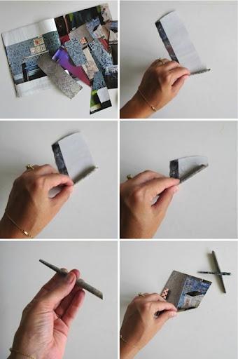 Faça canudos com o papel