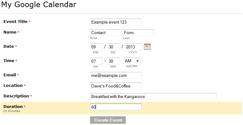 Google Calendar - Create event