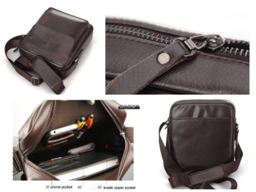 Zicac Mens Genuine Leather Shoulder Messenger Bag feaures