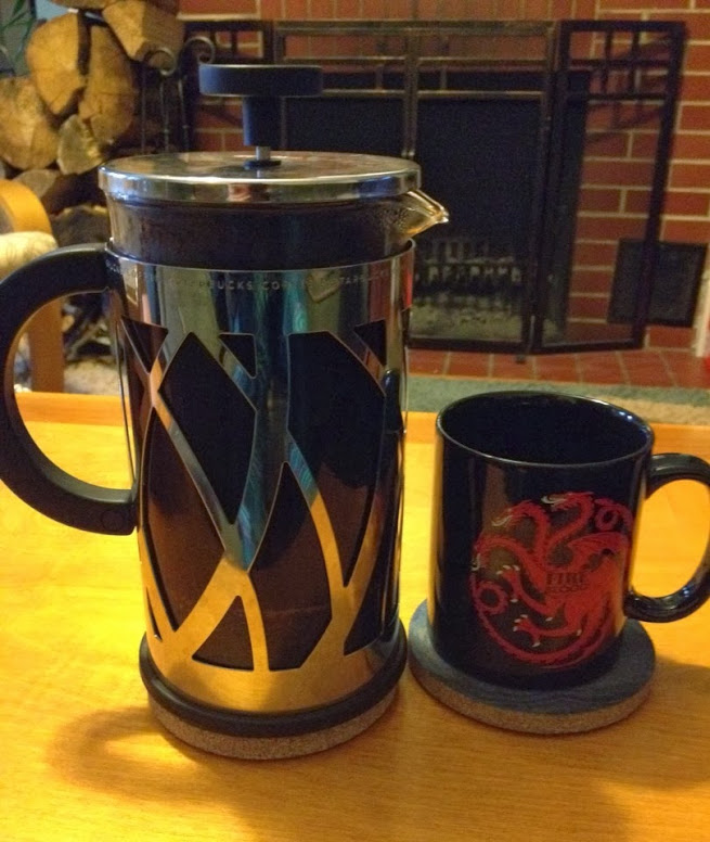French press coffee with Game of Thrones Targaryen sigil mug