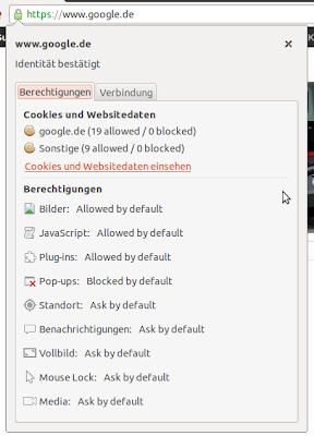Webseiten-Einstellungen in Chrome 23