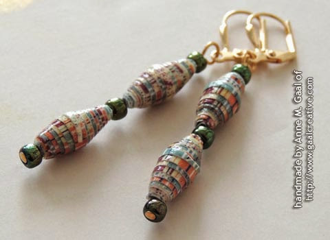 Gold, Green, and Earth Tones Paper Bead Leverback Earrings handmade by Anne Gaal of http://www.gaalcreative.com