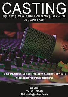 Imagen del Casting en Paraguay sobre doblaje de películas