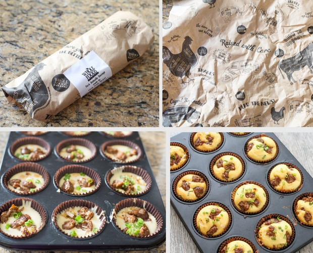 photo collage showing how the muffins are prepared