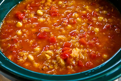 Add 2 cans petite diced tomatoes plus the juice and cook for 1-2 hours ...