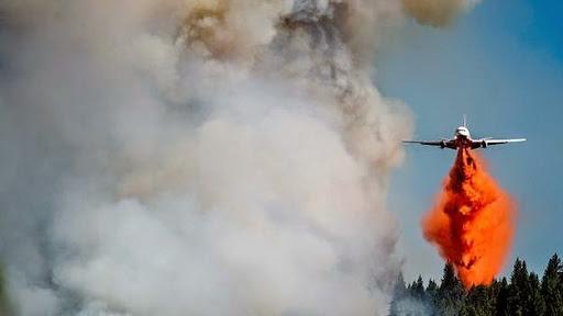 Một máy bay cứu hỏa hạ thấp để thả hóa chất dập lửa trong một đám cháy lớn ở cánh rừng rộng khoảng 3.500 ha gần khu vực Fresh Pond, bang California, Mỹ. Ảnh: Reuters