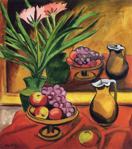 Max Pechstein - Still Life with Mirror. Clivia, Fruit and Jug