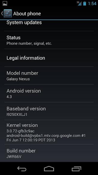 Cara Upgrade Android 4.3 Jelly Bean Galaxy Nexus i9250 OTA Official Firmware