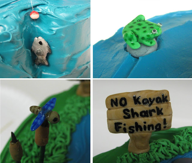 Dad Fishing in Kayak Cake - Close-ups of Fish, Frog, Dragonfly, and Sign