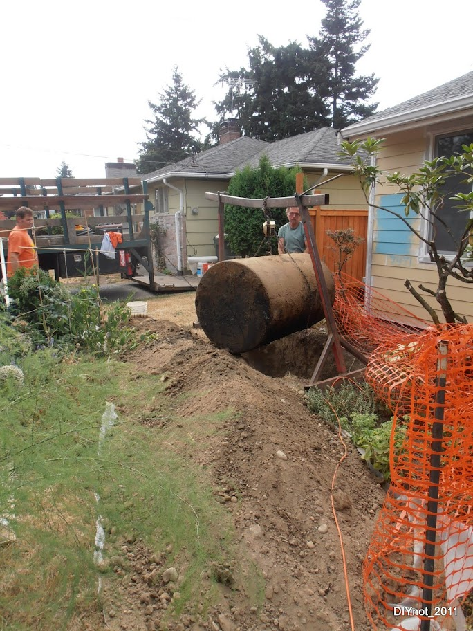 oil tank removal, garden, pile of dirt