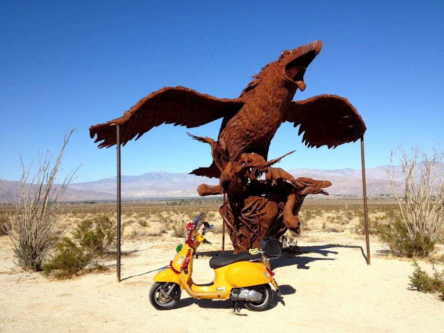 Iron sculpture outside Borrego Springs.
