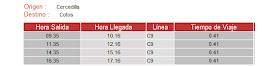 Horarios a partir del 17 de junio 2012