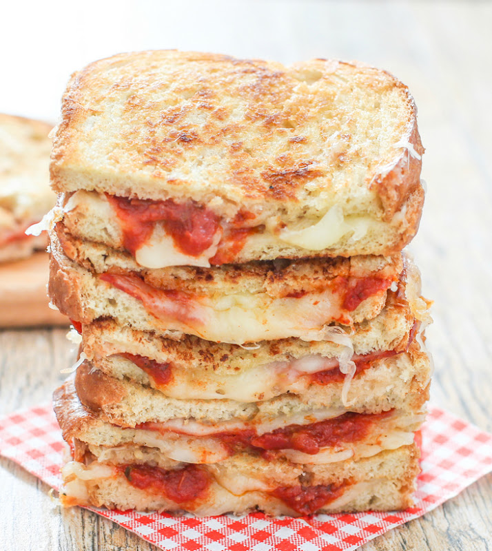 photo of a stack of Pizza Grilled Cheese Sandwich