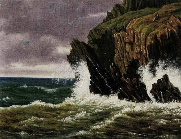 Carl Gustav Carus - Basalt coast in the surf