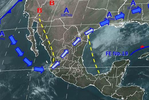 Condiciones meteorológicas para el 5 de enero de 2013 en la República Mexicana