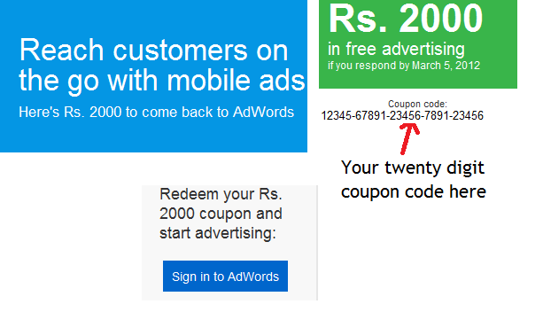 adwords coupon code here How To Redeem Adwords Coupon Code For Mobile Ads?
