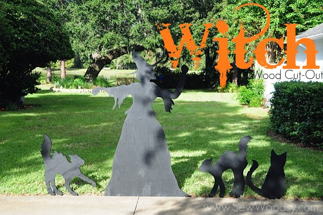 Black silhouette of witch and three cats with text on image for Pinterest.