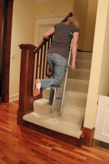 Easy Crutch going up stairs.