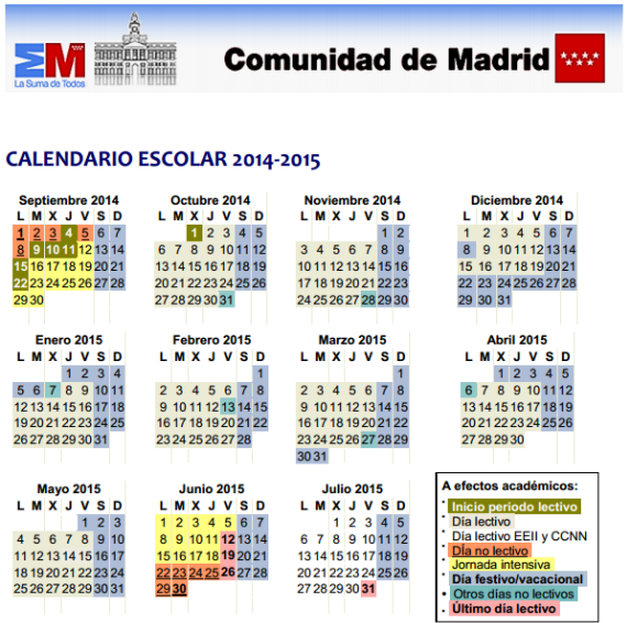 Calendario 2019 Escolar 2020 Madrid.Calendario Escolar Curso 2014 2015 De La Comunidad De Madrid Es