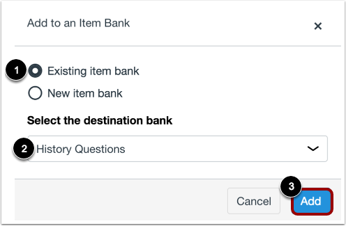 Add question to an existing Item Bank